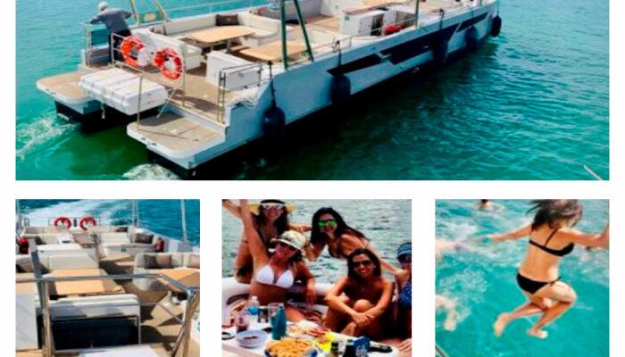 fiesta en catamaran por las calas de Xavea y Denia